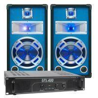 SkyTec blauw Complete 400W DJ Set met PA Versterker en Disco LED Luidsprekers