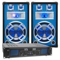 SkyTec blauw Complete 500W DJ Set met PA Versterker en Disco LED Luidsprekers