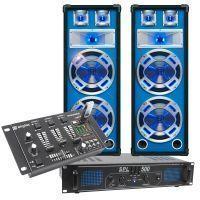 SkyTec blauw Complete 500W DJ Set met PA Versterker, Disco LED Luidsprekers en Mixer met USB MP3