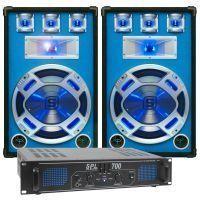 SkyTec blauw Complete 700W DJ Set met PA Versterker en Disco LED Luidsprekers