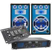 SkyTec blauw Complete 700W DJ Set met PA Versterker, Disco LED Luidsprekers en Mixer met USB MP3