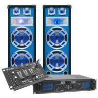 SkyTec blauw Complete 1000W DJ Set met PA Versterker, Disco LED Luidsprekers en Mixer met USB MP3