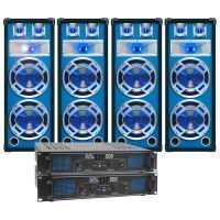 SkyTec blauw Complete 2400W DJ Set met 2 PA versterkers en 4 Disco LED Luidsprekers