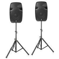 """Vonyx SPJ-1200A 12"""" speakerset 1200W met standaards"""