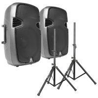 """Vonyx SPJ-1500A 15"""" speakerset 1600W met standaards"""