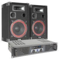 SkyTec Complete 500W PA DJ Set met Luidsprekers en zwarte Versterker