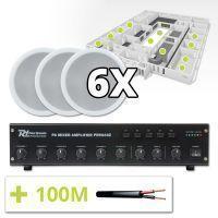 Power Dynamics 100V Speakers (set van 6) en 4-zone Versterker