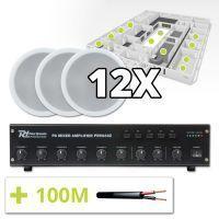 Power Dynamics 100V Speakers (set van 12) en 4-zone Versterker