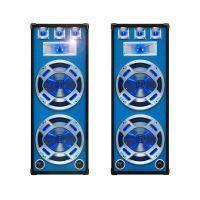 "SkyTec blauw PA Speakerset 15"" 2 x 1000W met LED Verlichting"