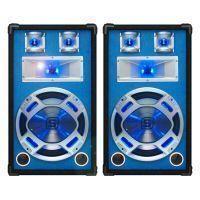 "SkyTec blauw PA Speakerset 12"" 2 x 600W met LED Verlichting"