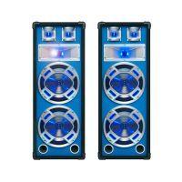 "SkyTec blauwe PA Speakerset 8"" 2 x 600W met LED Verlichting"