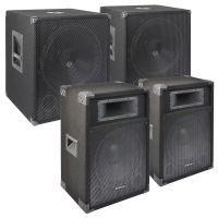SkyTec 2400W Disco DJ set met subwoofers, speakers en kabels