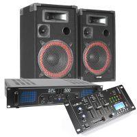 MAX Complete 500W Bluetooth DJ Set met Speakers, Versterker en Mixer