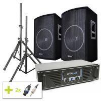 """SkyTec 1000W disco installatie met versterker, 15"""" speakers en stands"""