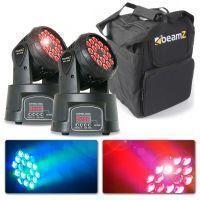 BeamZ Set van 2 MHL108MK2 Compacte RGB LED Moving heads met Tas