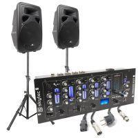 """SkyTec actieve 1600W 15"""" speakerset met mixer, stands en kabels"""