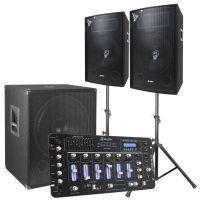 SkyTec 2.1 complete DJ live set 1600 Watt met mixer en kabels