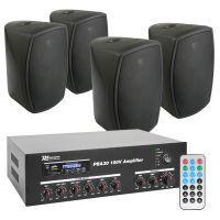 "Power Dynamics 100V Bundelset met 4 zwarte weerbestendige 5"" opbouw speakers"