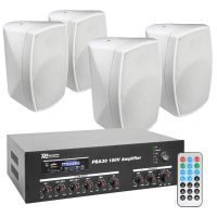 """Power Dynamics 100V Bundelset met 4 witte weerbestendige 5"""" opbouw speakers"""
