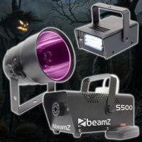 BeamZ Complete Halloween Effectset met Rookmachine, LED Stroboscoop en PAR38 Can Blacklight