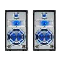 """SkyTec Set van 2 Witte PA luidspreker 10"""" / 25cm 400W met Disco LED verlichting"""