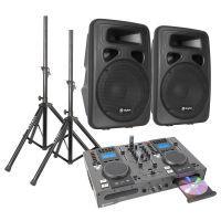 """SkyTec Dubbele CD/USB Speler DJ Starterset met 10"""" Actieve speakers"""