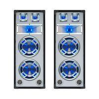 """SkyTec Set van 2 Witte PA luidspreker 2x8"""" / 20cm 600W met Disco LED verlichting"""