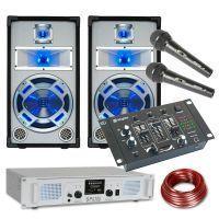 SkyTec Witte 800W DJ Set met PA versterker, USB, FM Radio en Disco Luidsprekers met LED verlichting