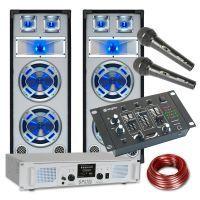 SkyTec Witte 1200W DJ Set met PA versterker, USB, FM Radio en Disco Luidsprekers met LED verlichting
