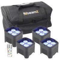 Set van 4 BeamZ BBP94 accu LED Uplights 40W p/st met tas