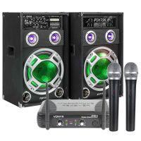 Fenton KA-12 karaokeset met 2 draadloze microfoons en kabels