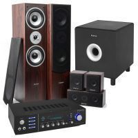 "Fenton Bluetooth home cinema set met 5 speakers en 10"" subwoofer - Walnoot"
