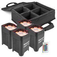 BeamZ Uplight pakket met 4 BBP96 accu Uplights + Tas