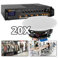 Power Dynamics 100V installatie met 4-zones en 20 plafondspeakers