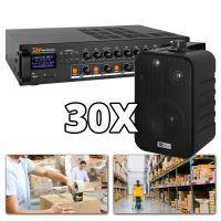 Power Dynamics 100V installatie met 30 speakers voor o.a. magazijnen