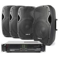 """Vonyx geluidsinstallatie 1500W met 4 speakers 12"""" voor bar, kantine, buurthuis, etc."""
