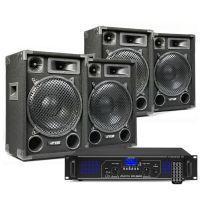 DJ speakerset met 4x MAX12 speakers en Bluetooth versterker 2800W