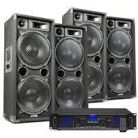 DJ speakerset met 4x MAX212 speakers en Bluetooth versterker 5600W