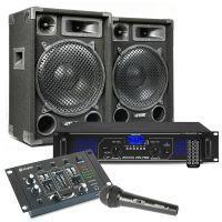 MAX12 DJ set met o.a. speakers, versterker en mixer - 1400W