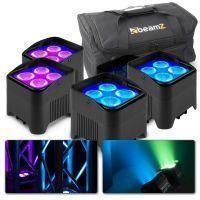 Set van 4 BeamZ BBP94W accu LED Uplights met tas