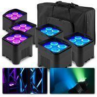 BeamZ BBP94W accu Uplight pakket met 6x BBP94W en tas