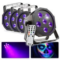 Blacklight set met 4 krachtige LED Flatpars