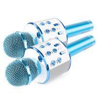 Set van 2 MAX KM01 karaoke microfoons - Blauw (2x)