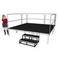 Compleet podium - 3x3 meter - hoogte 60cm incl. trap en balustrade