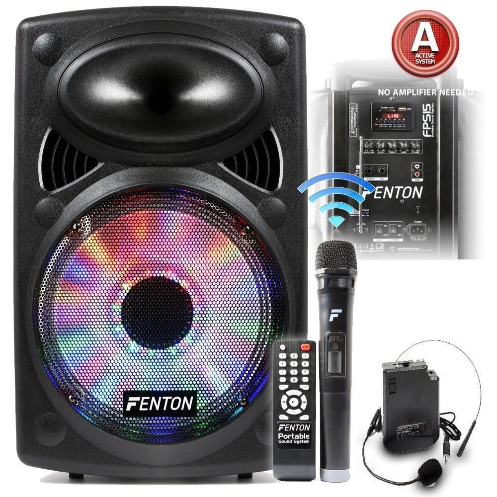 Dagaanbieding: Fenton FPS15 Mobiele geluidsinstallatie 15″ met bluetooth en draadloze microfoon