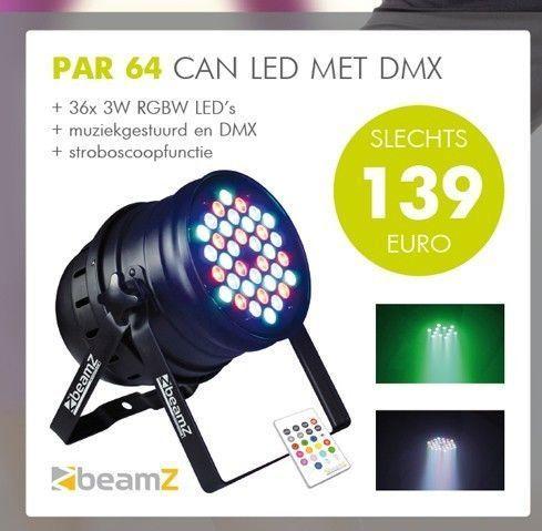 BeamZ Aluminium LED PAR64 36 x 3W RGB met afstandsbediening en DMX