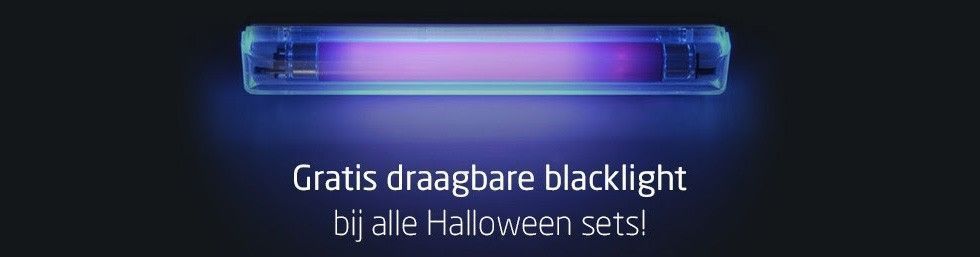 Gratis draagbare blacklight bij alle Halloween sets!