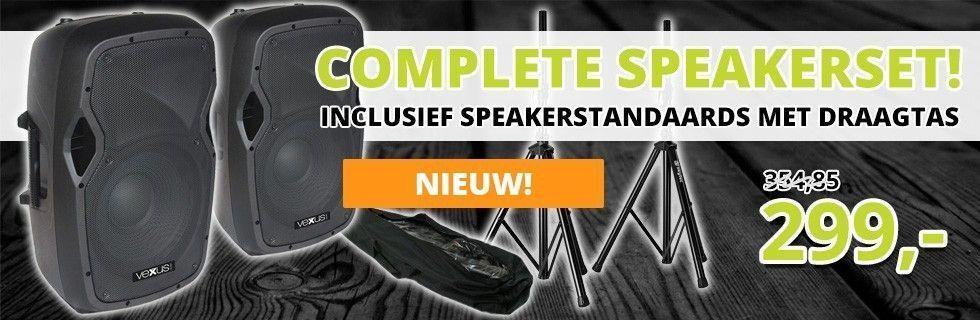 Vexus AP1200A actieve 1200W speakerset met standaards