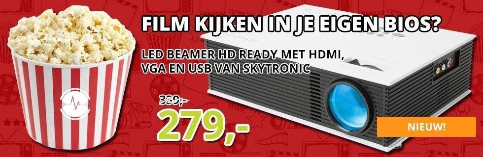 Je eigen bioscoop met de nieuwe LED beamer HD ready met HDMI, VGA en USB van SkyTronic!