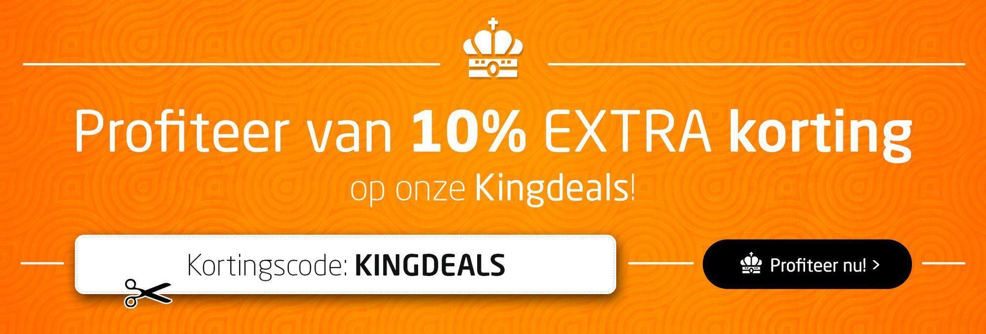 10% EXTRA korting op onze Kingdeals met de kortingscode!